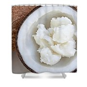 Solid Coconut Oil In Halved Coconut Shower Curtain