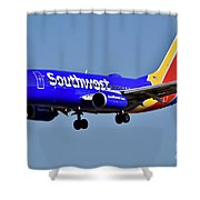 Southwest Airlines Airplane In Flight Shower Curtain