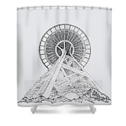 Space Needle- Looking Up Shower Curtain