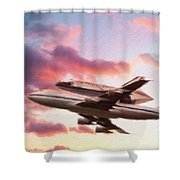 Space Shuttle Discovery Flies Off Into Retirement Shower Curtain