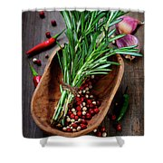 Spices On A Wooden Board Shower Curtain