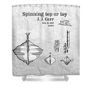 Spinning Top Or Toy Patent Art Shower Curtain