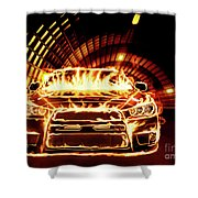 Sports Car In Flames Shower Curtain
