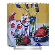 Spotted Cat With Strawberries Shower Curtain