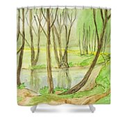 Spring Landscape, Painting Shower Curtain