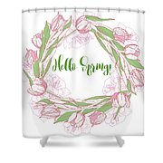Spring  Wreath With Pink White Tulips Shower Curtain
