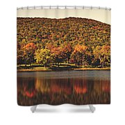 Squantz Pond In Autumn Shower Curtain