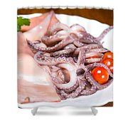 Squid Raw Cherry Tomatoes And Parsley Shower Curtain