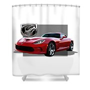 S R T  Viper With  3 D  Badge  Shower Curtain