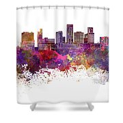 St. Paul Skyline In Watercolor Background Shower Curtain