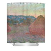 Stacks Of Wheat, End Of Day, Autumn Shower Curtain