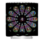 Stained Glass Rose Window In Lisbon Cathedral Shower Curtain