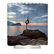 Statue In Budva Montenegro Shower Curtain