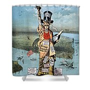 Statue Of Liberty Cartoon Shower Curtain