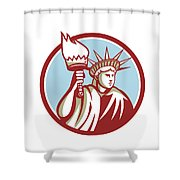 Statue Of Liberty Holding Flaming Torch Circle Retro Shower Curtain