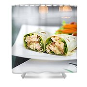 Steamed Salmon And Salad Wrap Shower Curtain