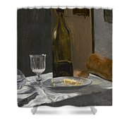 Still Life With Bottle Carafe Bread And Wine Shower Curtain