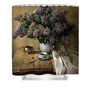 Still Life With Bouquet Of Fresh Lilacs Shower Curtain