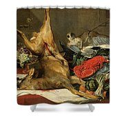 Still Life With Dead Game, A Monkey, A Parrot, And A Dog Shower Curtain