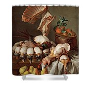 Still Life With Dressed Game, Meat And Fruit Shower Curtain