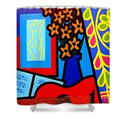 Still Life With Henri Matisse's Verve Shower Curtain