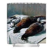 Still Life With Pheasants And Plovers Shower Curtain