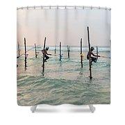 Stilt Fishermen - Sri Lanka Shower Curtain