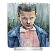 Stranger Things Eleven Portrait Shower Curtain