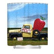Strawberry Truck Shower Curtain