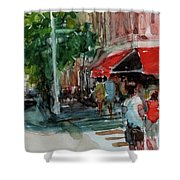 Streetscape With Red Awning - 82nd Street Market Shower Curtain