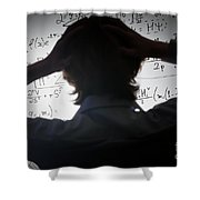 Student Holding His Head Looking At Complex Math Formulas On Whiteboard Shower Curtain