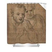 Studies Of Two Male Heads Shower Curtain