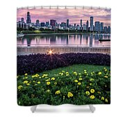 summer flowers and Chicago skyline Shower Curtain