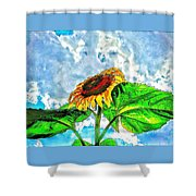 Sunflower In The Sky Shower Curtain