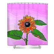 Illustration Of A Sunflower On A Pink Background Shower Curtain