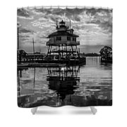 Sunrise At Drum Point Lighthouse Shower Curtain