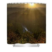 Sunrise Over Mount Hood And Sandy River Shower Curtain
