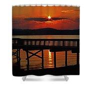 Sunrise Over The Pier Shower Curtain