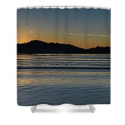Sunrise Waterscape And Silhouettes Shower Curtain