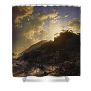 Sunset After A Storm On The Coast Of Sicily Shower Curtain
