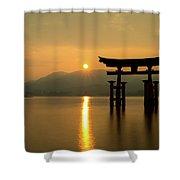 Sunset At Miyajima's Torii Shower Curtain