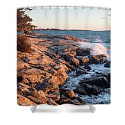 Sunset At Ocean Point, East Boothbay, Maine  -230204 Shower Curtain