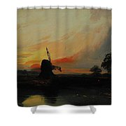 Sunset By The Windmill Shower Curtain