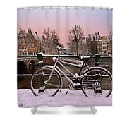Sunset In Snowy Amsterdam In The Netherlands In Winter Shower Curtain