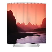 Sunset Over Li River Shower Curtain