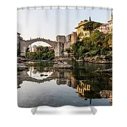 Sunset Over The Famous Mostar Bridge Shower Curtain