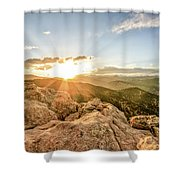 Sunset Over The Mountains Of Flaggstaff Road In Boulder, Colorad Shower Curtain