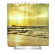 Sunset Over The Sea. Panorama Shower Curtain