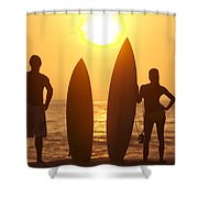 Surfer Silhouettes Shower Curtain