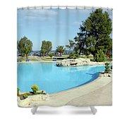 Swimming Pool Summer Vacation Scene Shower Curtain